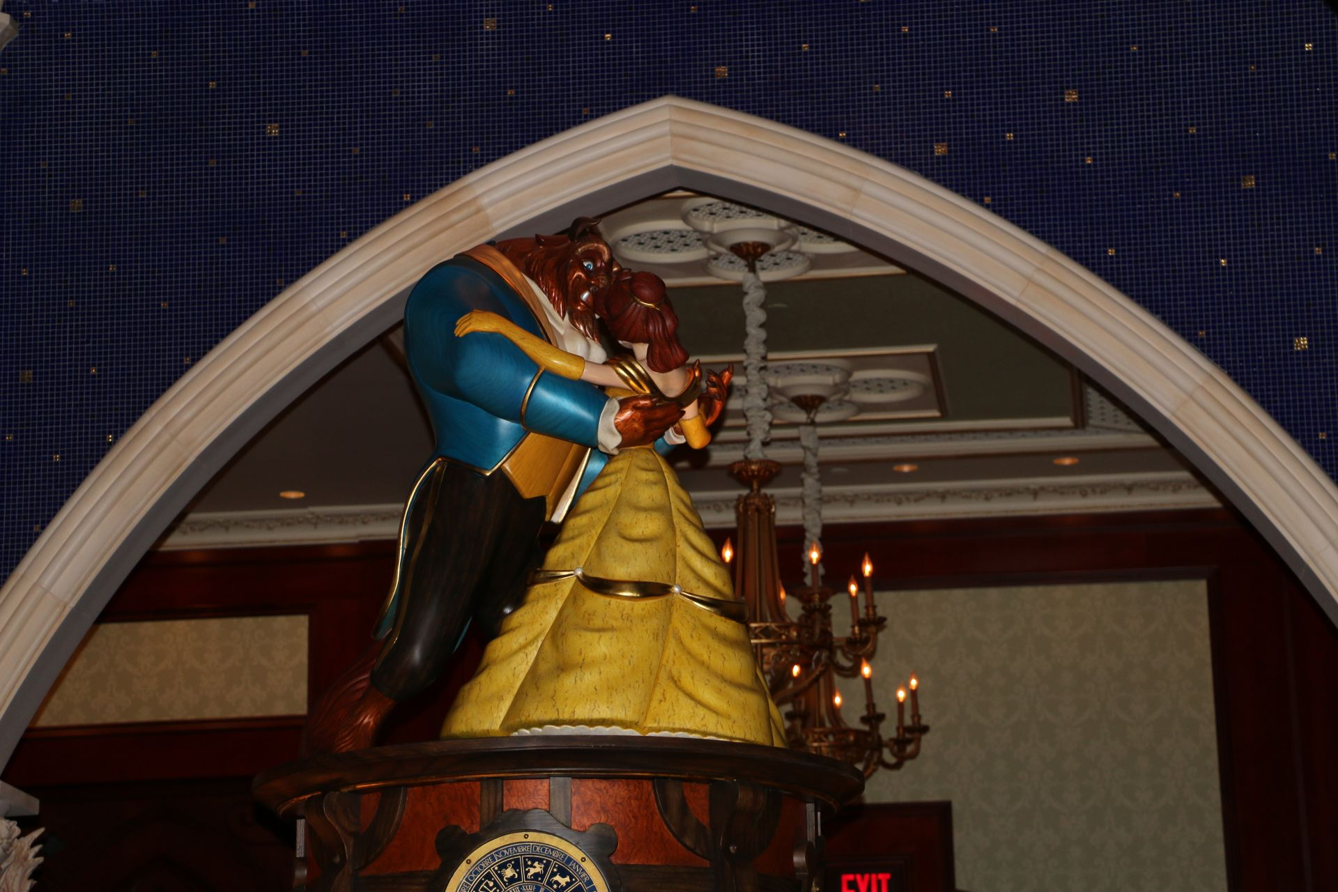 belle and beast statue at be our guest